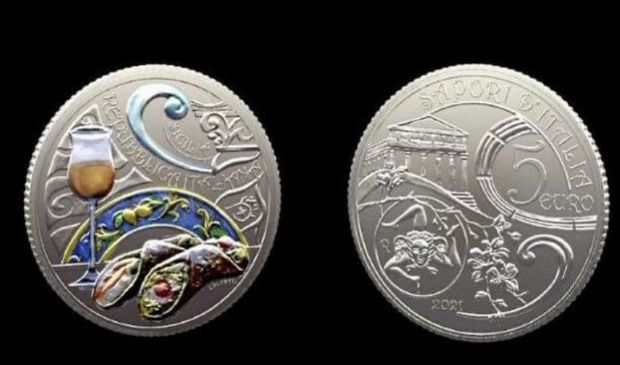 Collezione numismatica 2021: cannolo siciliano sulle monete da 5 euro