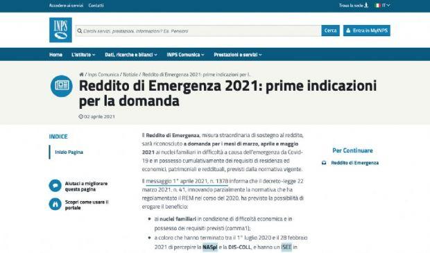 Reddito di emergenza 2021: requisiti e domanda INPS. Prime istruzioni