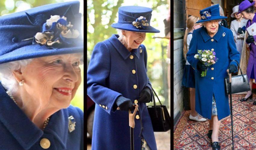 La regina Elisabetta per la prima volta con un bastone da passeggio