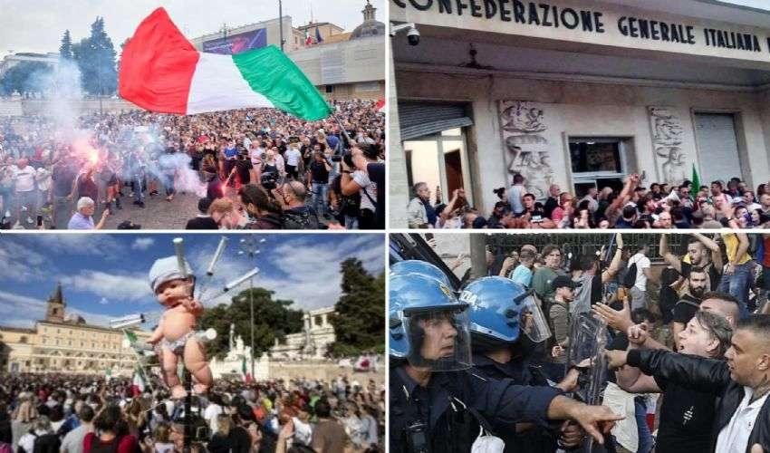 """No Green Pass, guerriglia a Roma. Lamorgese: """"Eversione inquietante"""""""