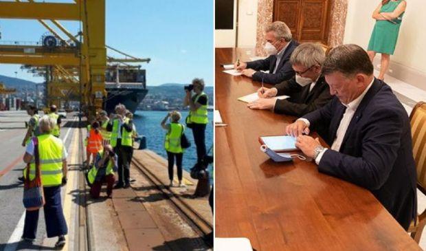 """Blocco portuali a Trieste: rischio """"effetto domino"""" per tir e polizia"""