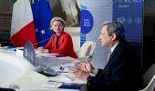 PNRR Italia-Ue, Draghi-Von der Leyen: si parla di ripresa a Cinecittà