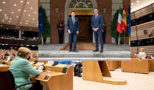 Ue, obiettivo recovery: Merkel a Bruxelles, Conte e Sanchez a Madrid