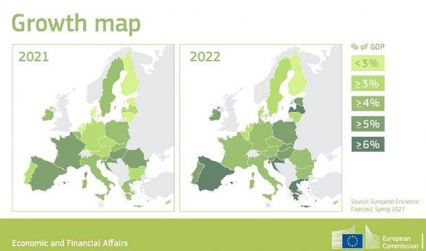 Ue alza stime PIL Italia +5%, livelli prelockdown entro settembre 2022