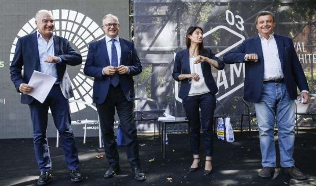 Elezioni Roma, primo confronto Calenda, Gualtieri, Michetti, Raggi