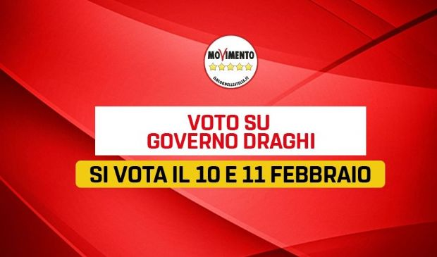 Governo Draghi, M5S: voto su piattaforma Rousseau il 10 e 11 febbraio