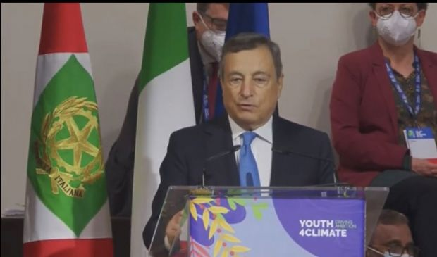 """PreCop 26, Draghi parla ai giovani e promette: """"Dobbiamo agire adesso"""""""