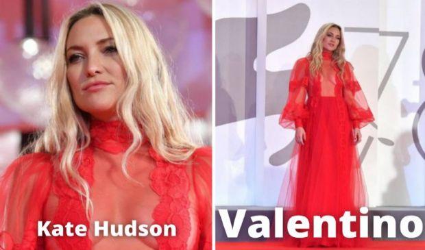 Red Carpet Venezia 78, Kate Hudson sensazionale in Valentino