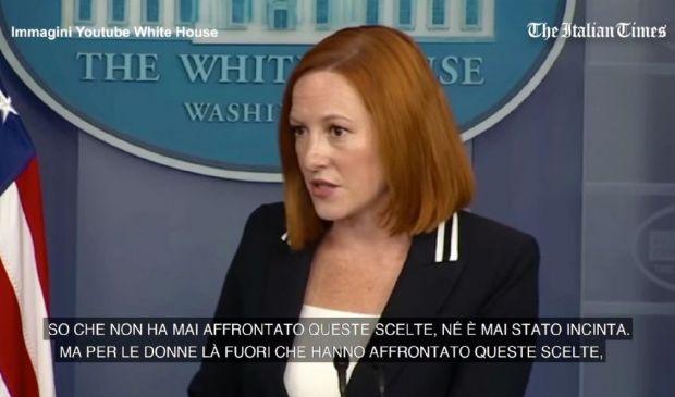 """Aborto, la portavoce di Biden al reporter: """"Non è mai stato incinta"""""""