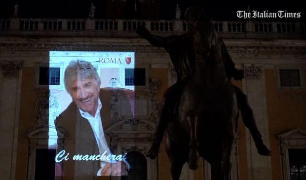 Omaggio a Proietti: le immagini dell'attore sui monumenti di Roma